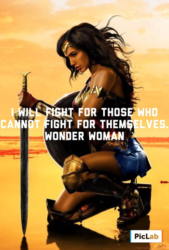 I will fight for those who cannot fight for themselves. -Wonder Woman Movie Quote