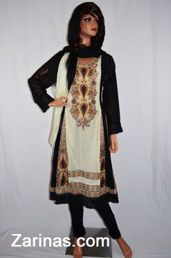 Rani Mukerki Salwar Kameez.  Stylish and fashionable Salwar Kameez for women, typically worn by women in India, Pakistan, South East Asia, and parts of Afghanistan. Made from a beautiful chiffon fabric and decorated with an elegant bejeweled embroidered pattern. Comes with a matching tie-dye chiffon scarf and pants. Perfect to wear to parties, weddings, or special occasions. Sleeves are see through.   http://www.zarinas.com/perahan_women.shtml