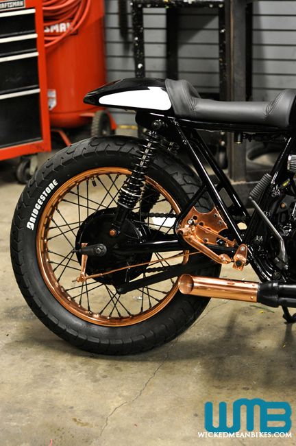 Back Copper Wheel on 'Patina' a 70's vintage honda cafe racer by Kott Motorcycles