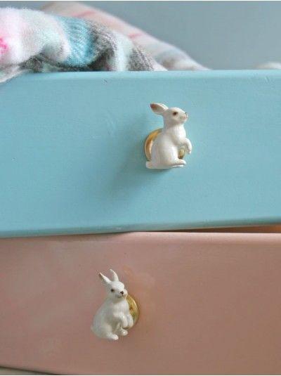 Kids room - Ceramic Rabbit Knobs - Berry Red
