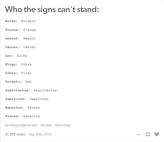 When it was on point about which star sign you can't stand. | Community Post: 33 Times Tumblr Truly Nailed The Whole Horoscope Thing In 2015