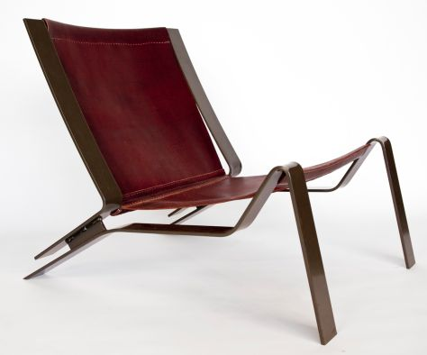 Cade Hayes chair. He now uses half hides and shoulder cuts of cow from Tandy Leather in Tucson, which he cuts, stretches and, for the most part, hand-stitches himself. He sources steel from Santa Rita Steel & Hardware .: