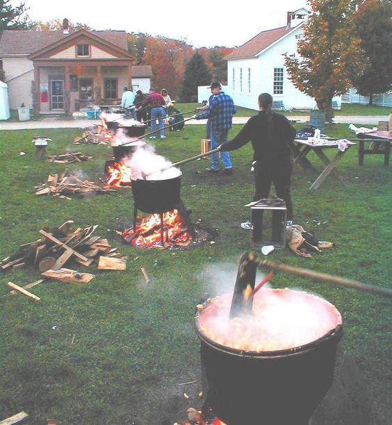 Copper kettles at the Apple Butter Festival - Century Village, Burton, OH: