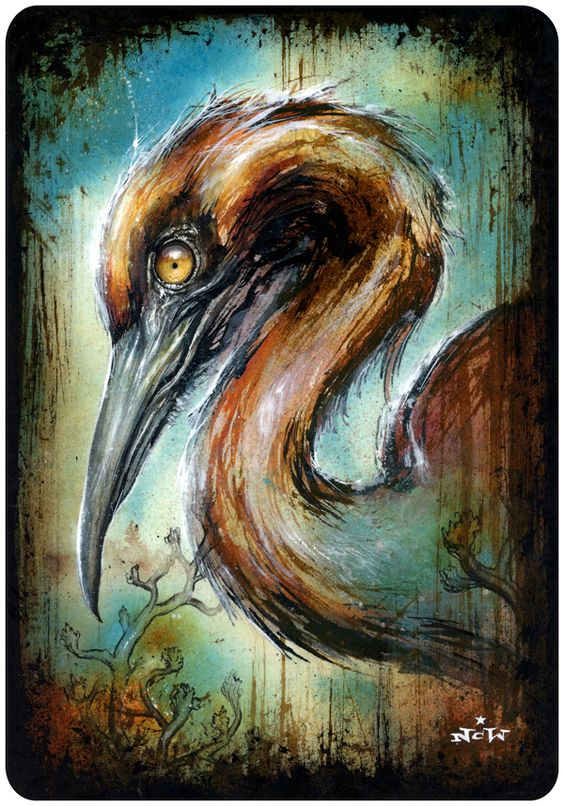 """Heron Through""<br> Pen & ink, ink wash and acrylic on paper, varnished.<br> 7"" x 10"" (2014)"