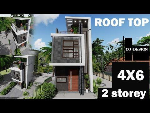 4x6 M 24 Sqm Small House With Rooftop 2 Storey House Youtube Row House Design Narrow House Designs Small Row House Design