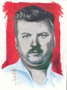 serial killer portraits I've done. this one: John Wayne Gacy.