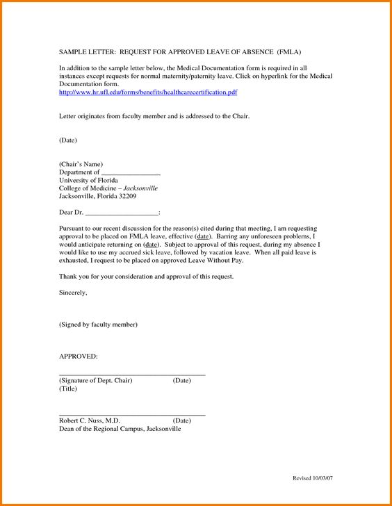 Leave Absence College Letter Appeal Letters Sample Application For