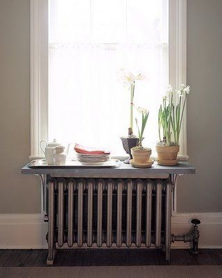 Shelf over radiator instead of paying for an expensive radiator cover: