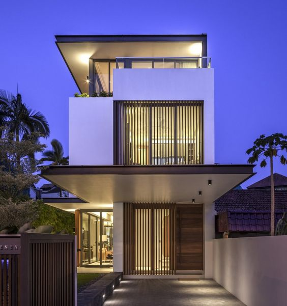 Modern And Artistic Home Entrances : Interesting Sunny Side House Entrance  With Glass Rectangular Window And Wooden Door