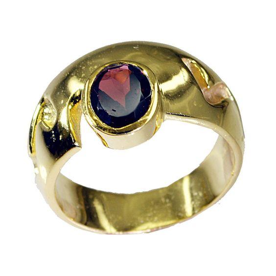 Riyo Granat 18ct ygold Platte Klasse Ring SZ 7 5 gprgar7 5