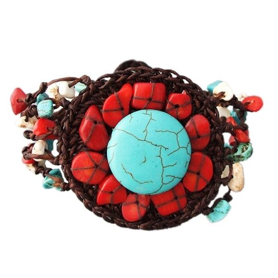 Stranded Round Turquoise and Coral Bracelet