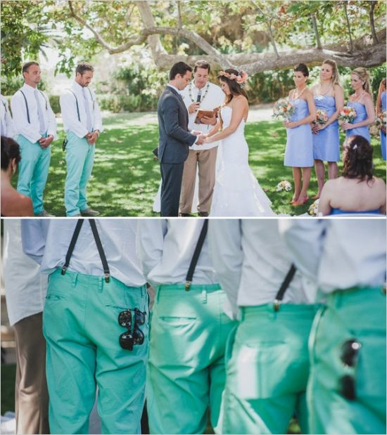 Mint Color Outdoor Ceremony Decorations: Malibu Hand Crafted Mint And Peach Wedding