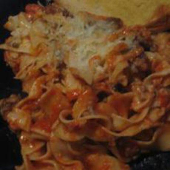 Egg noodle lasagna