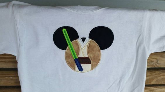 Mouse Ears Jedi Applique Shirt Sword by fabuellaboutique. Explore more products on http://fabuellaboutique.etsy.com
