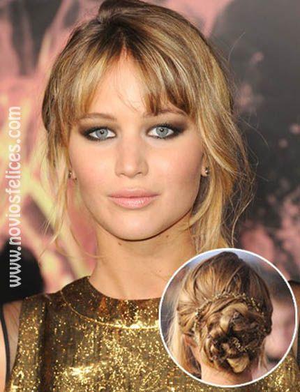 Jennifer Lawrence con recogido bajo de cabello trenzado