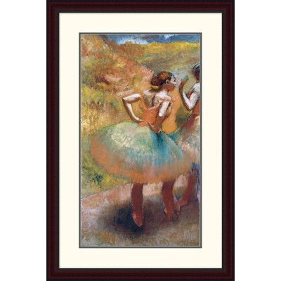 "Global Gallery 'Two Dancers in Green Skirts' by Edgar Degas Framed Painting Print Size: 38"" H x 25.04"" W x 1.5"" D"