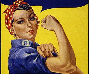 'We Can Do It!' [Rosie the Riveter], a poster produced by Westinghouse for the US War Production Co-Ordinating Committee, c.1942-43; 'Rosie the Riveter--the strong, competent woman dressed in overalls and bandanna--was introduced as a symbol of patriotic womanhood'. (World Digital Library)