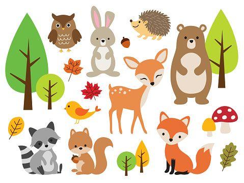 Vector Illustration Of Cute Woodland Forest Animals Including Deer Rabbit Hedgehog Bea Forest Animals Illustration Rabbit Illustration Squirrel Illustration