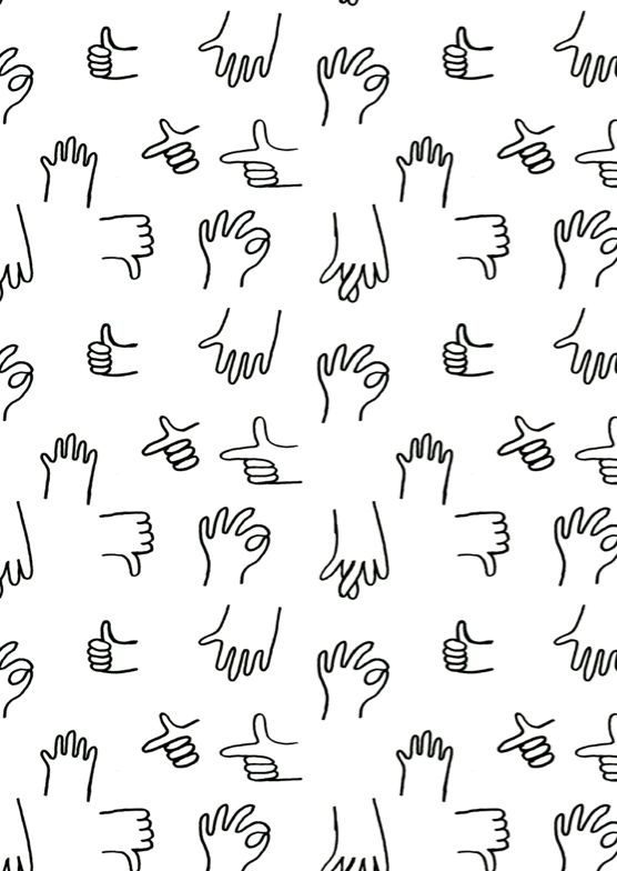 Sign Language print, except doesn't look like sign language to me. Just appears to be hand-drawn hand gestures in a repetitive pattern. Interesting and could look funny/campy covering an entire fabric sample.