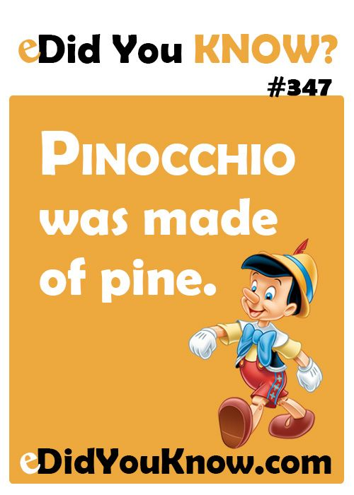 Pinocchio was made of pine. http://edidyouknow.com/did-you-know-347/