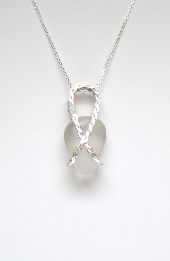 Sea Glass Jewelry - Sterling Caged White Sea Glass Necklace by SignetureLine on Etsy