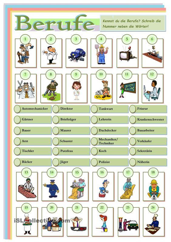 Arbeitsblätter Thema Berufe : Berufe student centered resources arbeitsblätter und
