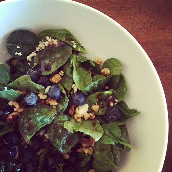 Blueberry, walnut, feta and spinach with a balsamic vinaigrette! #nomnom #healthyeating #foodie #foodstagram