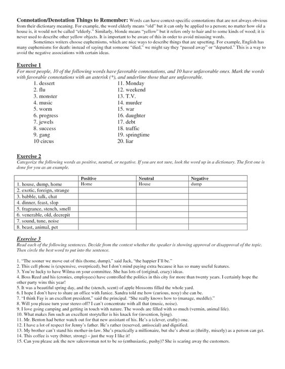24 Connotation And Denotation Worksheets Connotation Denotation Syntax Ppt Root Words Vocabulary Words Middle School English Language Arts