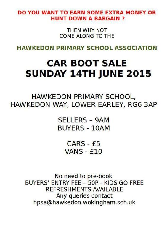 Car boot sale, Sunday 14th June, Hawkedon Primary School, Lower Earley.