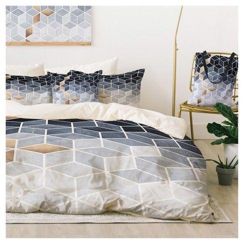 4pc King Elisabeth Fredriksson Gradient Cubes Duvet Cover Set Blue Deny Designs Duvet Cover Sets Duvet Covers Textured Duvet Cover