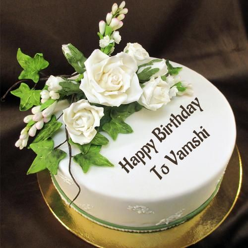 Happy Birthday Sugar Flower Awesome Cake With Name In 2020 Happy Birthday Chocolate Cake Birthday Cake Writing Happy Birthday Cake Images