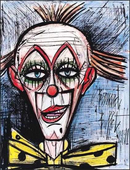 Bernard BUFFET ( 1928 - 1999 ), Clown au fond bleu, 1991: