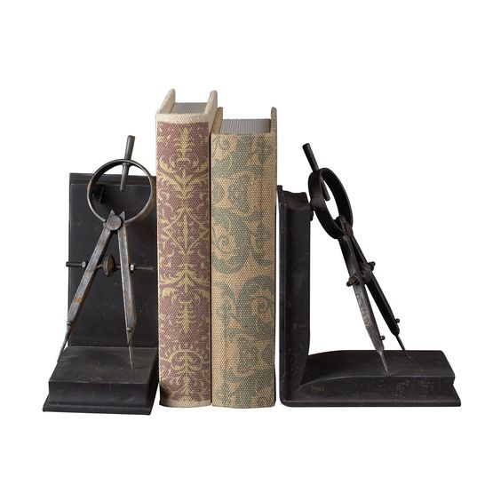 Restoration Rusted Black Compass Bookends