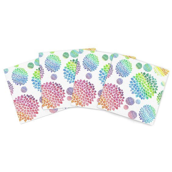 "Catherine Holcombe ""Feel the Rainbow"" Rainbow White Indoor/Outdoor Place Mat (Set of 4)"
