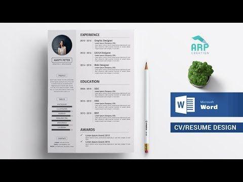 How To Create A Cv Resume Template In Microsoft Word Docx Docx Tutorial Youtube Create A Cv Cv Resume Template Resume Design Template