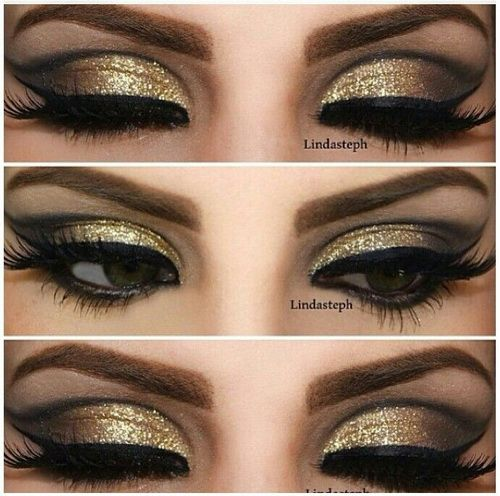 Black And Gold Smokey Eye Makeup To Look Inspired Gold Eye