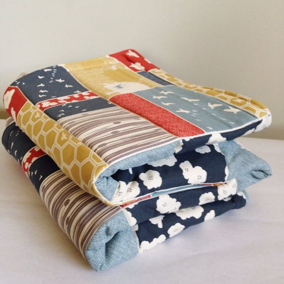 Large Cotton Patchwork Baby Play Mat. Organic Forest and Flight Patchwork Double Padded Baby Floor Mat.