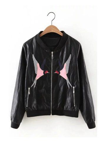 Women Casual Embroidery Pattern Stand Collar Jacket
