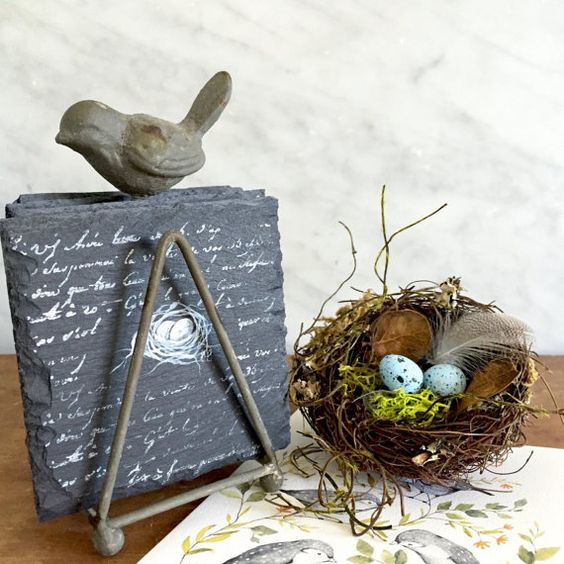 Slate Coaster Set with Iron Bird Stand for Farmhouse, French Country and Cottage Home Decor