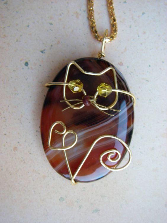 Unique Gold Wire Cat on Agate Pendant Necklace by jillmh123, $12.50