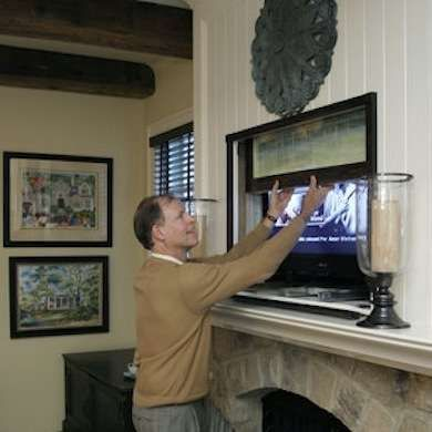 9 ways to make your tv look at home bobs flats and for Hidden sliding screen door