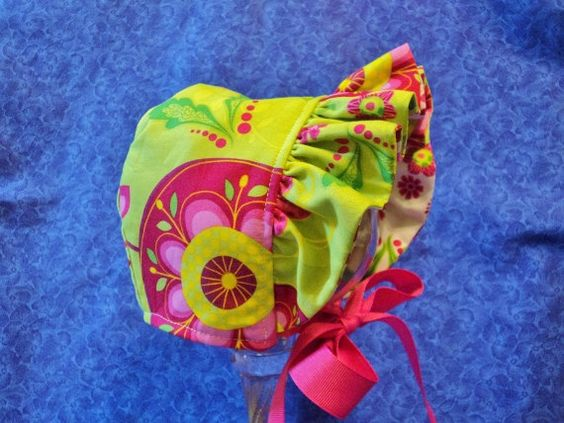 Custom for Davina Baby Bonnet Green and Pink by AdorableandCute, $26.00