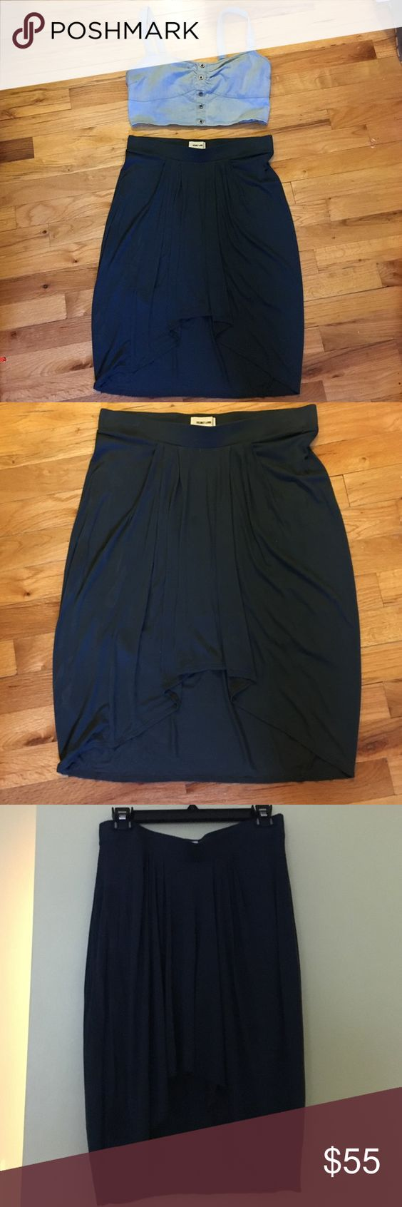 Helmut Lang Hi-Lo Skirt Hi Lo jersey skirt. Size M fits an 8. The fabric is a pretty green-blue color but looks like a greenish grey in certain lighting. Helmut Lang Skirts High Low