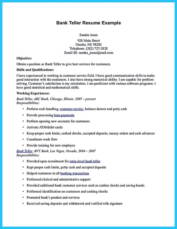 resume example for bank teller position