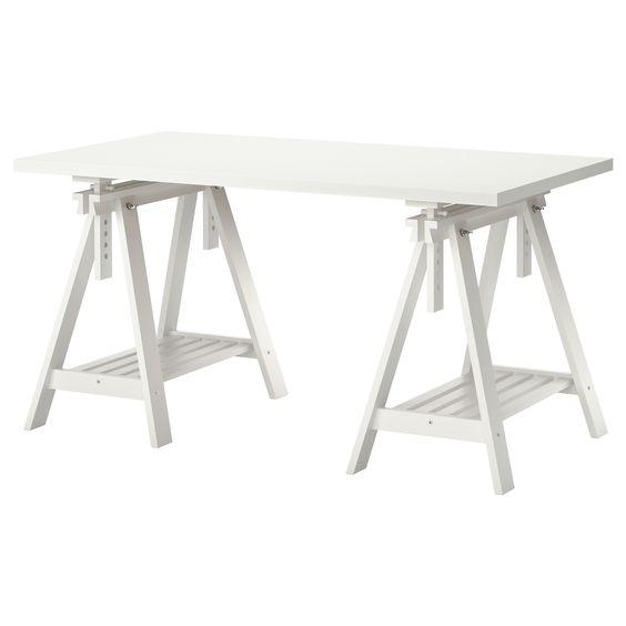 LINNMON/FINNVARD Tisch - weiß - IKEA - beine und platte vor fenster