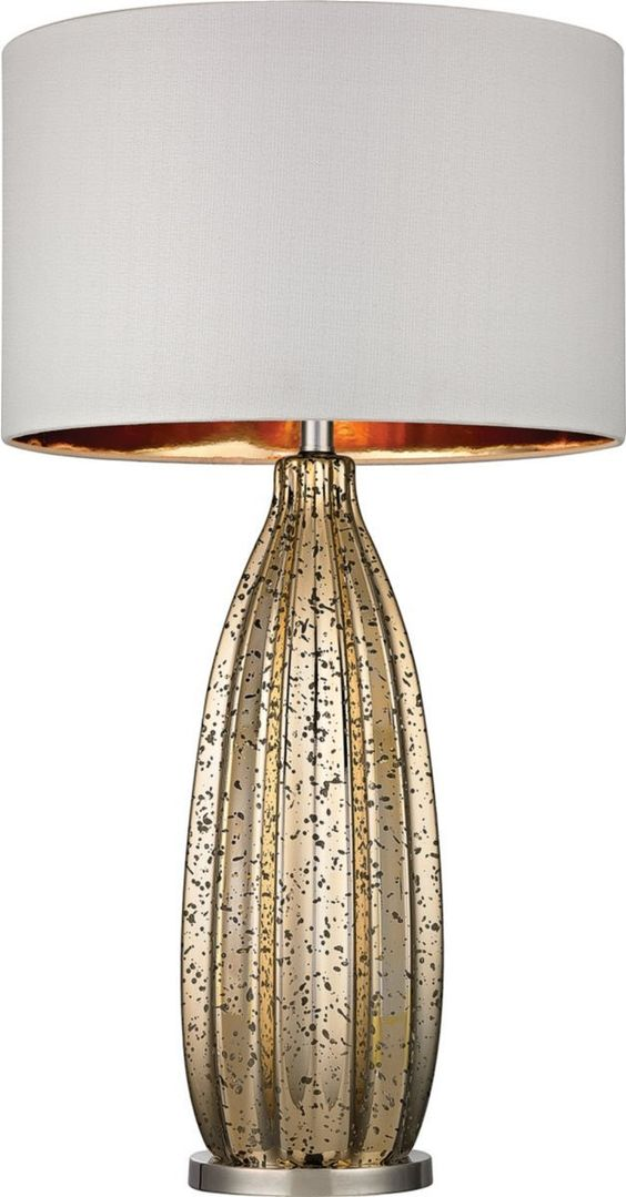 0-030338>Pennistone 1-Light 3-Way Table Lamp Antique Gold Mercury / Polished Nickel