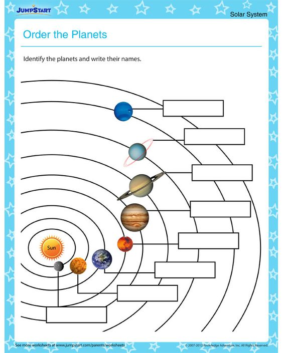 order the planets solar system worksheets for kids science pinterest solar system the. Black Bedroom Furniture Sets. Home Design Ideas