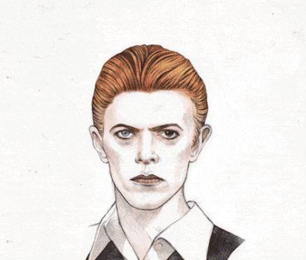 Um GIF animado que é um tributo a David Bowie