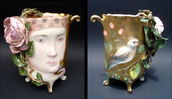 """""""ROSE"""" Cup by Artist Irina Zaytceva Handbuilt porcelain, overglaze painting, 24k gold luster 5 1/2"""" x 5 1/2"""" x 3 1/2"""""""