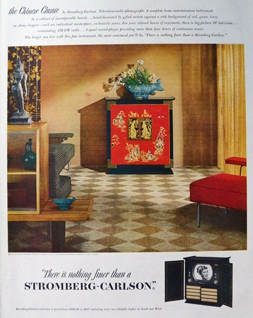 Original vintage magazine ad for the Stromberg Carlson TV-Radio-Phonograph combo in the Chinese Classic design.